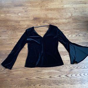 Bailey 44 velvet style blouse with flared sleeve